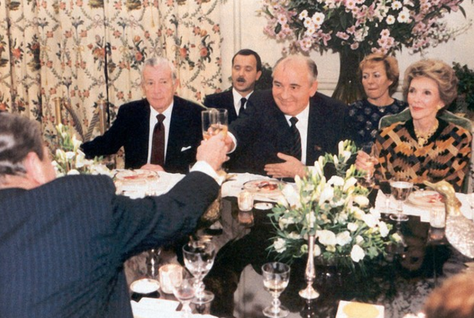 President Reagan toasts Mikhail Gorbachev with Iron Horse sparkling wine